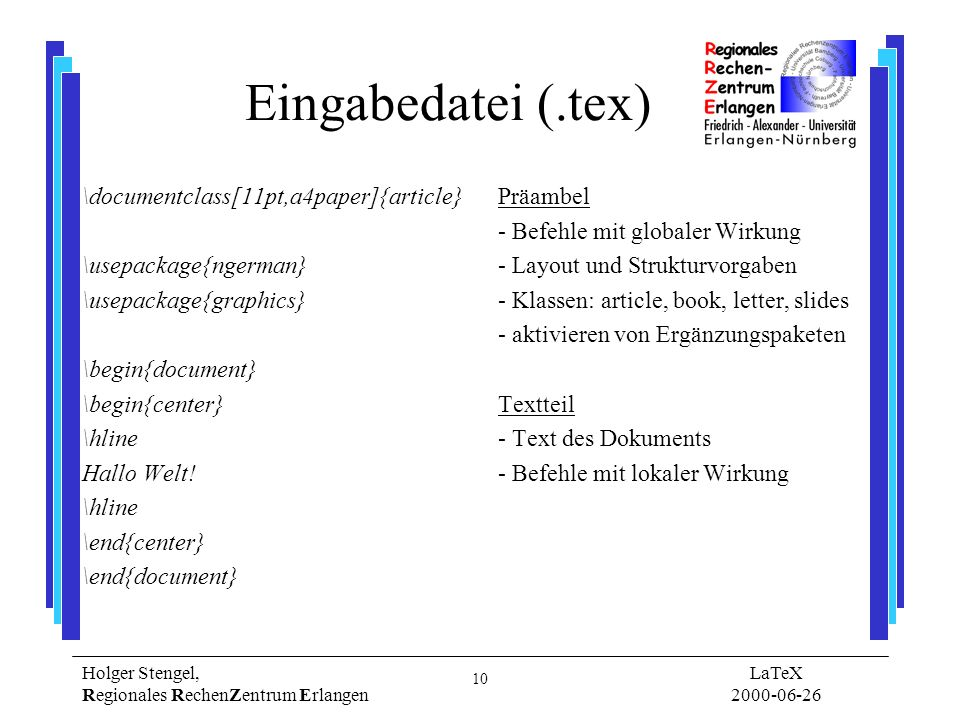 Eingabedatei (.tex) \documentclass[11pt,a4paper]{article}